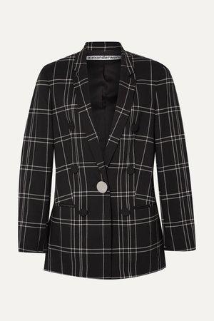 Black Leather-trimmed checked woven blazer   Alexander Wang   NET-A-PORTER