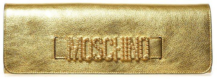 Logo Metallic Leather Clutch