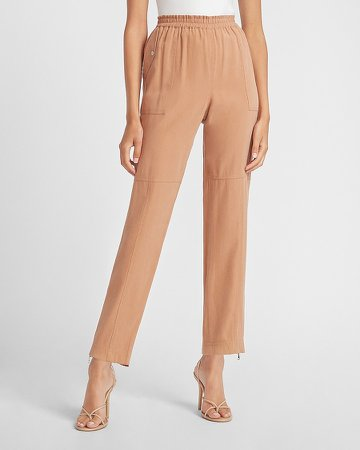 High Waisted Zip Ankle Utility Jogger Pant