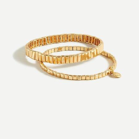J.Crew: Stackable Gold Stretch Bracelet Set For Women
