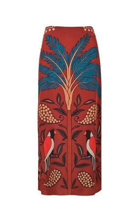 Le Palmier Printed Silk Midi Skirt By Johanna Ortiz   Moda Operandi