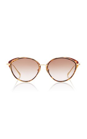 Linda Farrow Cat-Eye Tortoiseshell Acetate And Titanium Sunglasses
