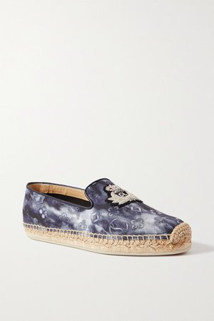 Nanou Orlato Donna Logo-embroidered Tie-dyed Canvas Espadrilles - Navy