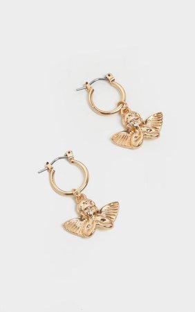 Gold Cherub Hoop Earring   Accessories   PrettyLittleThing