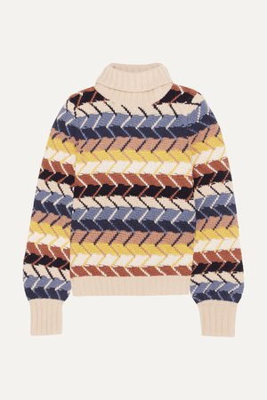 Ivory Merino wool and cashmere-blend turtleneck sweater | Chloé | NET-A-PORTER