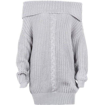 off shoulder sweater grey dress