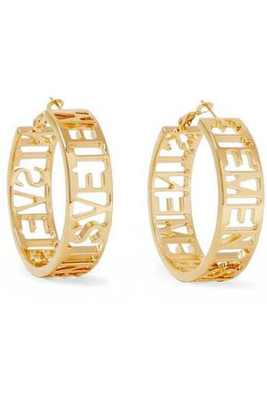 VETEMENTS GOLD-PLATED HOOP EARRINGS | ModeSens