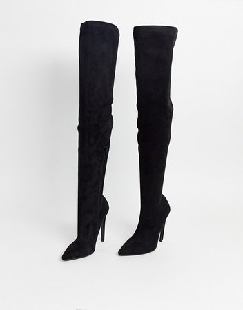 ASOS DESIGN Kendra stiletto thigh high boots in black | ASOS