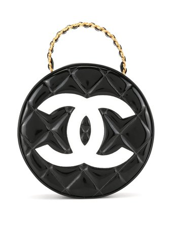 Shop black Chanel Pre-Owned 1995 chain vanity round handbag with Express Delivery - Farfetch