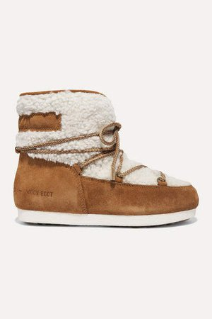 Suede And Shearling Ankle Boots - Tan