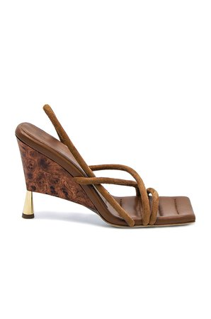 GIA/RHW Strappy Suede Sandal in Cocoa Brown   FWRD
