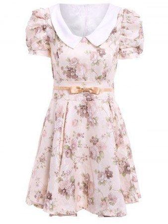 floral pink Peter Pan collar babydoll dress