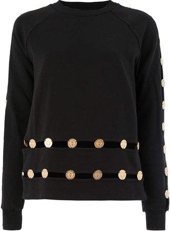 embossed coin sweatshirt