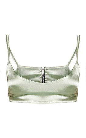 SAGE GREEN SATIN SCOOP NECK CROPPED TOP