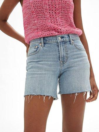 "Mid Rise 5"" Denim Shorts with Raw-Hem | Gap Factory"