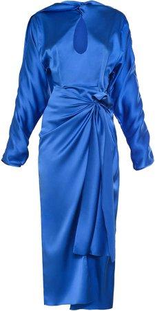 MATERIEL Draped Stretch-Silk Satin Midi Dress