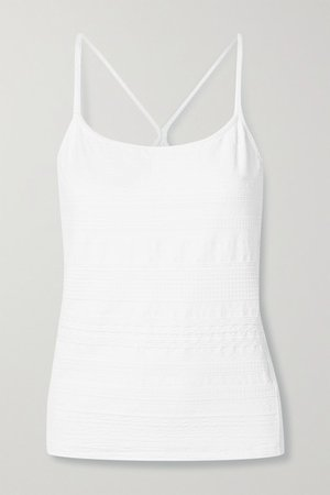 Textured Stretch-jersey Tank - White