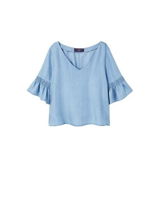 Violeta BY MANGO Frilled denim shirt