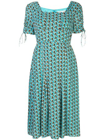 Shop blue DVF Diane von Furstenberg floral print dress with Express Delivery - Farfetch