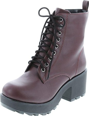 Amazon.com | Soda Women's Magpie Faux Leather Lace-Up Combat Mid Heel Military Ankle Boots | Ankle & Bootie