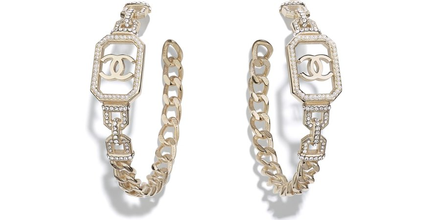 Earrings, metal, imitation pearls & diamanté, gold, pearly white & crystal - CHANEL