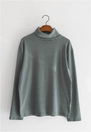Whirly Small Lines Fleece Lined Turtleneck Tee by JUSTONE | Kooding