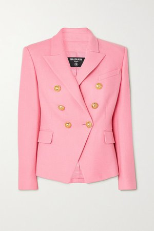 Double-breasted Cotton-pique Blazer - Pink