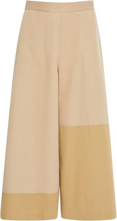 Mid-Rise Cropped Culotte Trousers