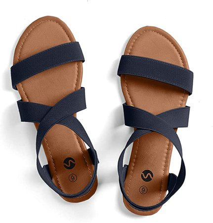 Amazon.com | Rekayla Flat Elastic Sandals for Women, Navy Blue, Size 10.0 | Flats