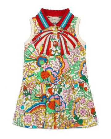 Gucci Mixed-Print Dress w/ Knit Collar, Size 4-12   Neiman Marcus