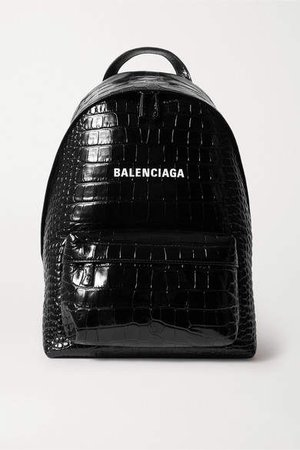 Everyday Croc-effect Leather Backpack - Black