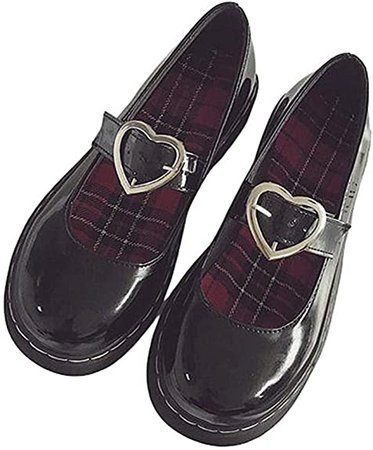 Lorie & Knight Harajuku Patent Leather Heart Strap Gothic Lolita Mary Jane Flat Shoes Black   Flats