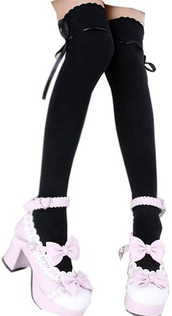Thigh High Socks Lolita Gothic Over Knee Stocking Lace Up Thigh Stockings PTK12 (Black): Clothing