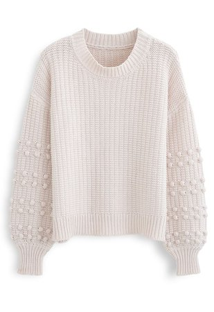 Bubble-Sleeve with Pom-Pom Detail Sweater in Cream - Retro, Indie and Unique Fashion