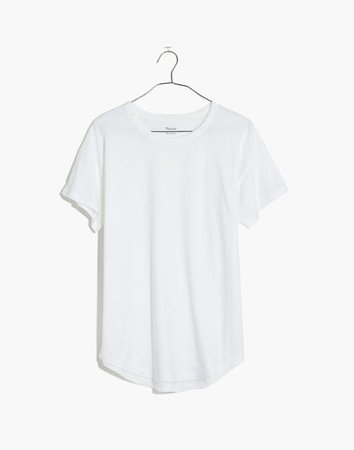 Whisper Cotton Rib-Crewneck Tee white
