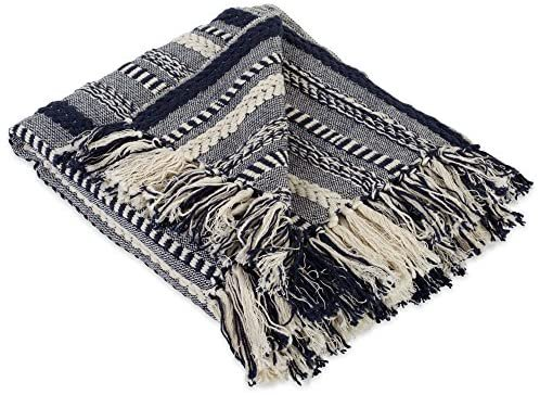 "Amazon.com: DII Farmhouse Cotton Stripe Blanket Throw with Fringe For Chair, Couch, Picnic, Camping, Beach, & Everyday Use , 50 x 60"" - Braided Stripe Navy: Home & Kitchen"