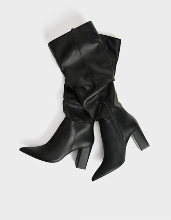 High-heel slouched boots - New - Bershka United States