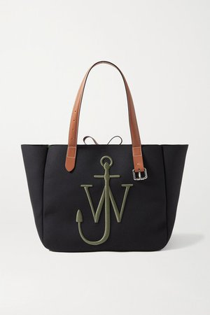 Leather-trimmed Embroidered Canvas Tote - Black