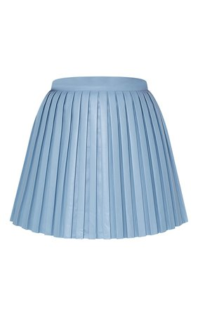 Blue Faux Leather Pleated Skater Skirt | PrettyLittleThing USA