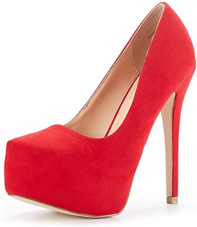 Amazon.com | DREAM PAIRS Women's Swan-30 Red Suede High Heel Plaform Dress Pump Shoes Size 5.5 M US | Pumps