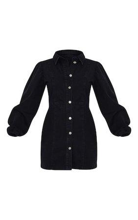 Black Balloon Sleeve Button Through Denim Dress   PrettyLittleThing