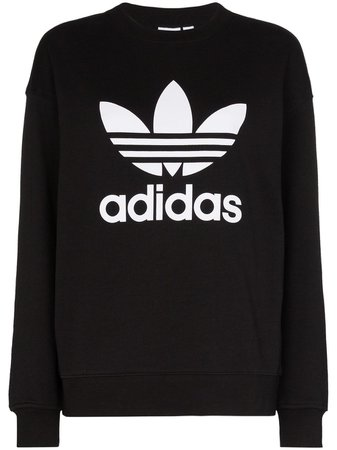Adidas logo-print Cotton Sweatshirt - Farfetch