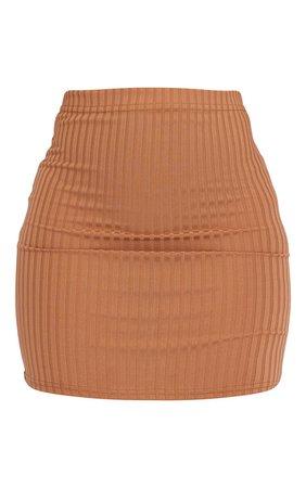 Camel Rib Mini Skirt | Skirts | PrettyLittleThing USA