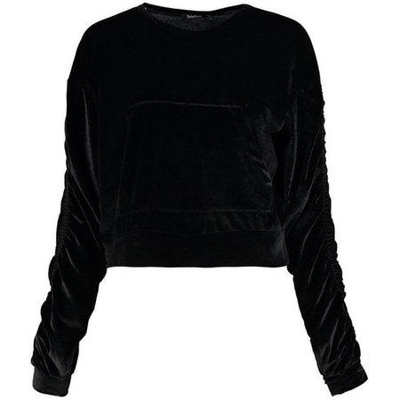 Boohoo Abigail Velvet Ruched Sleeve Crop Sweater