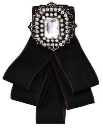 Black Satin Ribbon Bow Tie Necktie Bowknot Shirt Tie Clips Brooch Pin