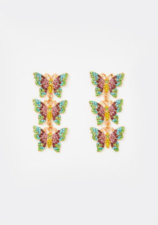 Rainbow Rhinestone Butterfly Drop Earrings | Dolls Kill