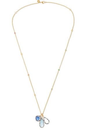 Larkspur & Hawk | Lady Emily 14-karat gold and rhodium-dipped multi-stone necklace | NET-A-PORTER.COM
