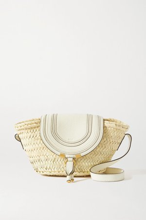 Marcie Leather-trimmed Raffia Shoulder Bag - White
