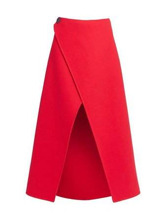 Givenchy Wrapped Wool Midi Skirt | SaksFifthAvenue