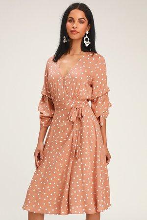 Chic Rose Dress - Rose Polka Dot Dress - Flounce Sleeve Dress